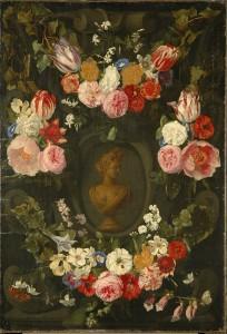 Festoen van bloemen om een buste