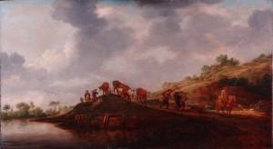 Heuvelig landschap met veehoeder